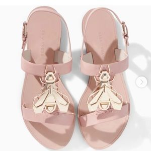 Zara Bee Sandals. Leather Nude Pink. Size 8